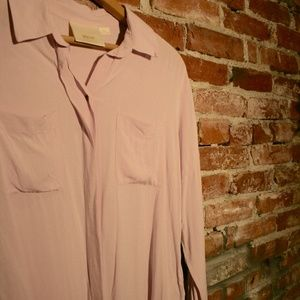 Maeve by Anthropologie Lilac Tie-Front Blouse